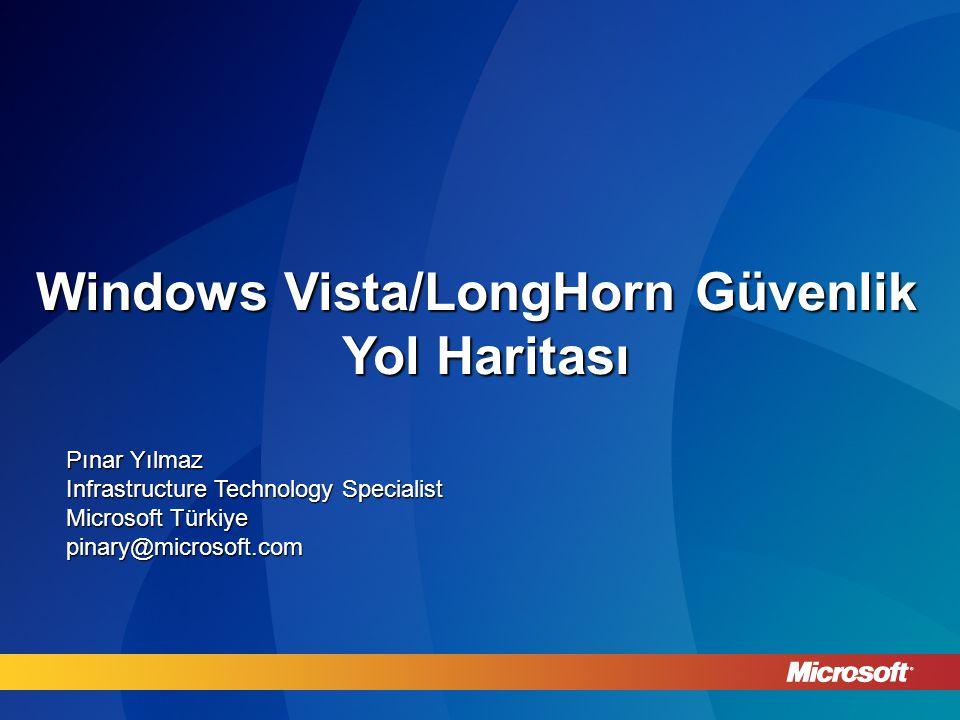 Windows Vista/LongHorn Güvenlik Yol Haritası Pınar Yılmaz Infrastructure Technology Specialist Microsoft Türkiye pinary@microsoft.com