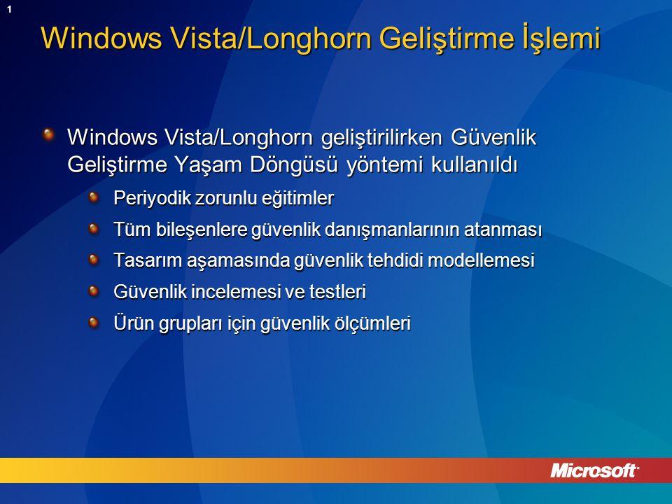 1 Windows Vista/Longhorn Geliştirme İşlemi Windows Vista/Longhorn geliştirilirken Güvenlik Geliştirme Yaşam Döngüsü yöntemi kullanıldı Periyodik zorunlu eğitimler Tüm bileşenlere güvenlik danışmanlarının atanması Tasarım aşamasında güvenlik tehdidi modellemesi Güvenlik incelemesi ve testleri Ürün grupları için güvenlik ölçümleri