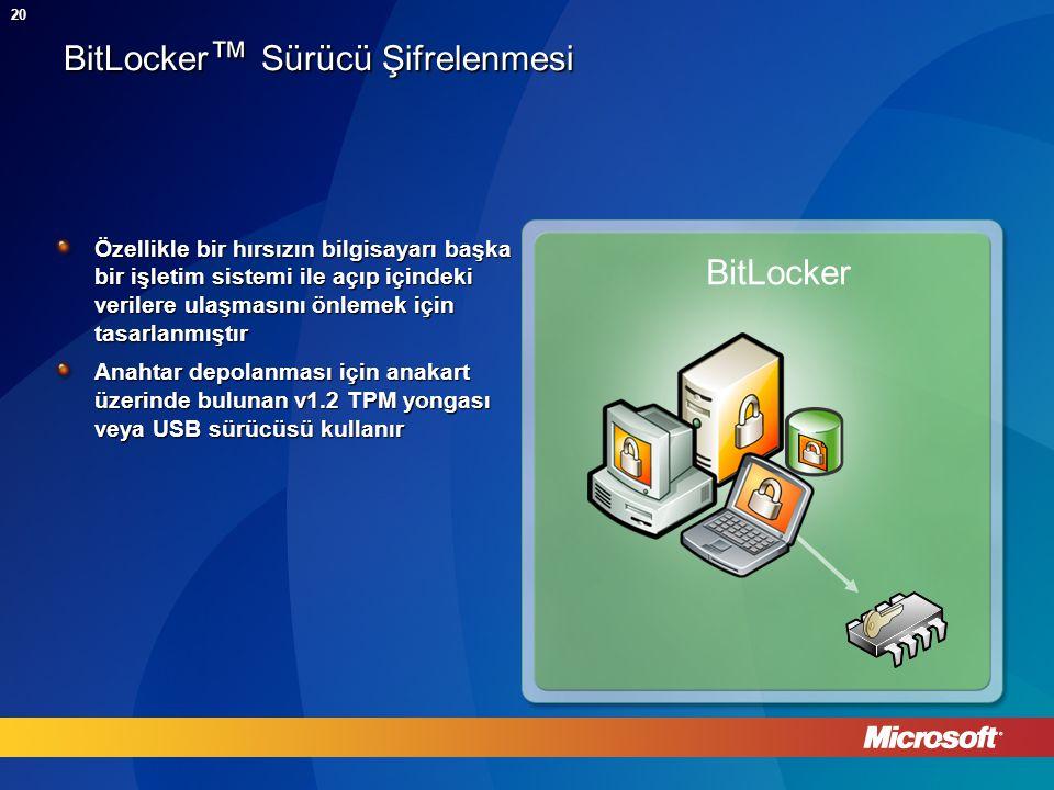 20 BitLocker ™ Sürücü Şifrelenmesi Özellikle bir hırsızın bilgisayarı başka bir işletim sistemi ile açıp içindeki verilere ulaşmasını önlemek için tasarlanmıştır Anahtar depolanması için anakart üzerinde bulunan v1.2 TPM yongası veya USB sürücüsü kullanır BitLocker