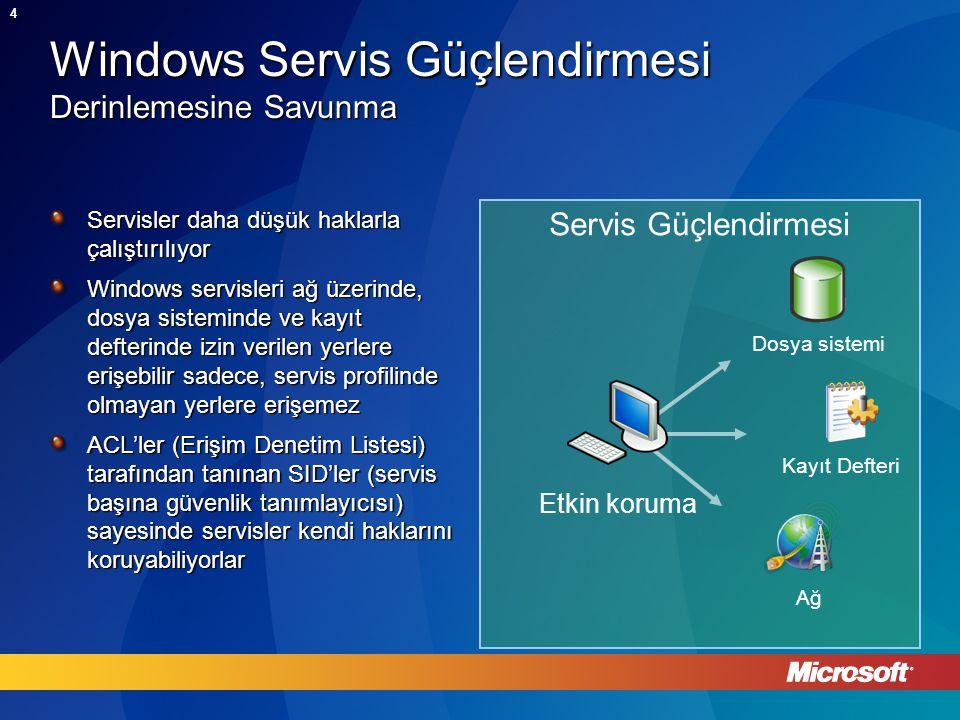 4 Servis Güçlendirmesi Windows Servis Güçlendirmesi Derinlemesine Savunma Servisler daha düşük haklarla çalıştırılıyor Windows servisleri ağ üzerinde, dosya sisteminde ve kayıt defterinde izin verilen yerlere erişebilir sadece, servis profilinde olmayan yerlere erişemez ACL'ler (Erişim Denetim Listesi) tarafından tanınan SID'ler (servis başına güvenlik tanımlayıcısı) sayesinde servisler kendi haklarını koruyabiliyorlar Etkin koruma Dosya sistemi Kayıt Defteri Ağ