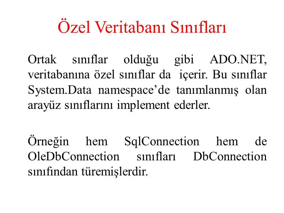 Özel Veritabanı Sınıfları Ortak sınıflar olduğu gibi ADO.NET, veritabanına özel sınıflar da içerir. Bu sınıflar System.Data namespace'de tanımlanmış o