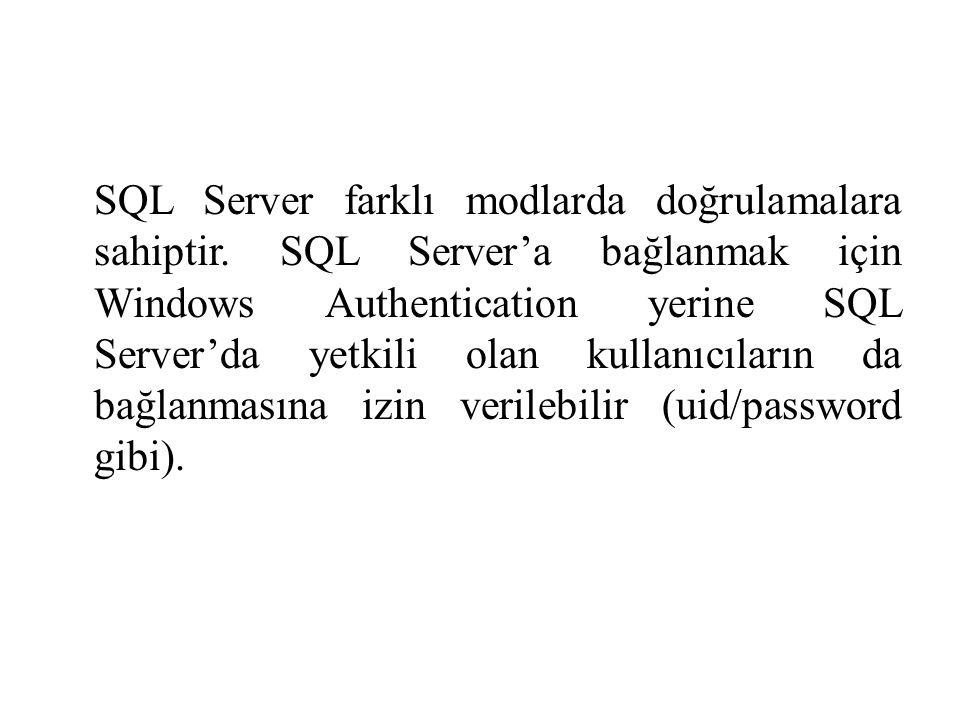 SQL Server farklı modlarda doğrulamalara sahiptir. SQL Server'a bağlanmak için Windows Authentication yerine SQL Server'da yetkili olan kullanıcıların