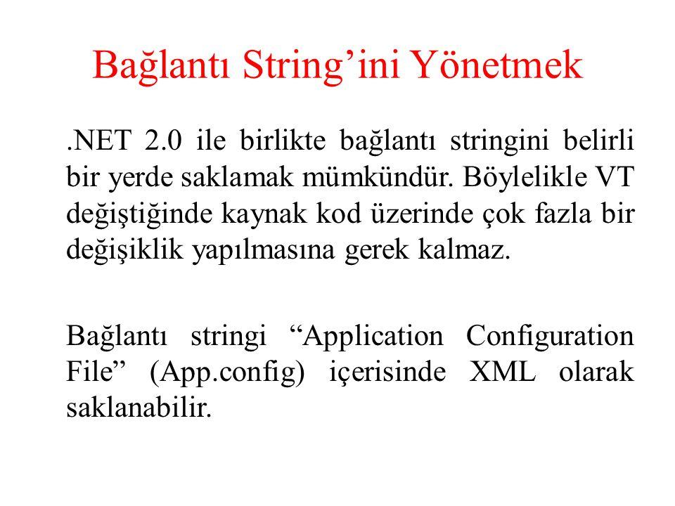 Bağlantı String'ini Yönetmek.NET 2.0 ile birlikte bağlantı stringini belirli bir yerde saklamak mümkündür. Böylelikle VT değiştiğinde kaynak kod üzeri