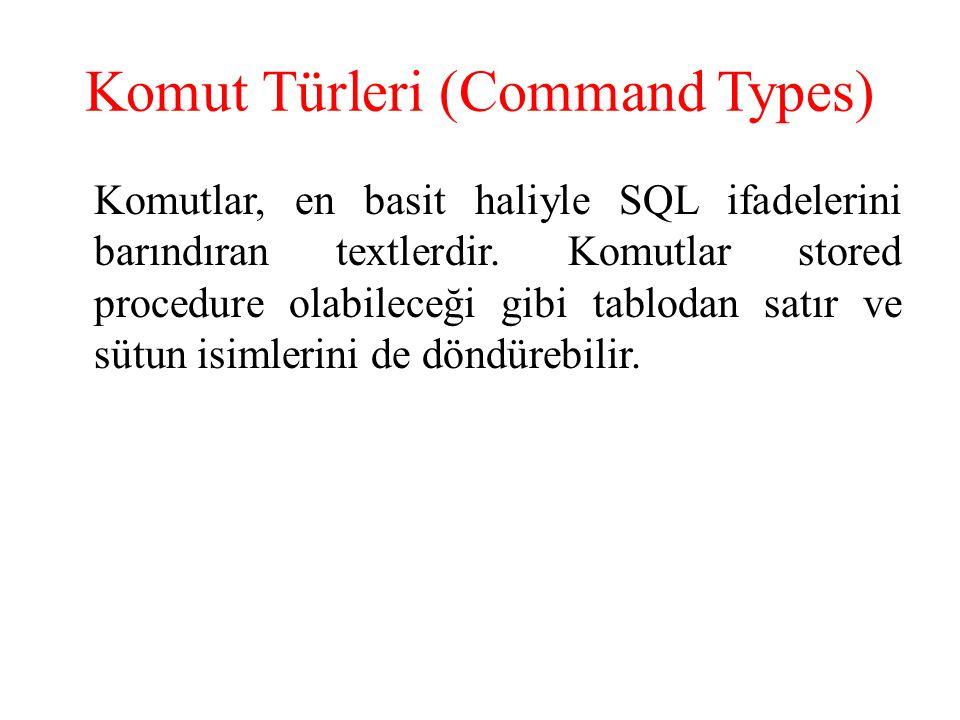 Komut Türleri (Command Types) Komutlar, en basit haliyle SQL ifadelerini barındıran textlerdir. Komutlar stored procedure olabileceği gibi tablodan sa