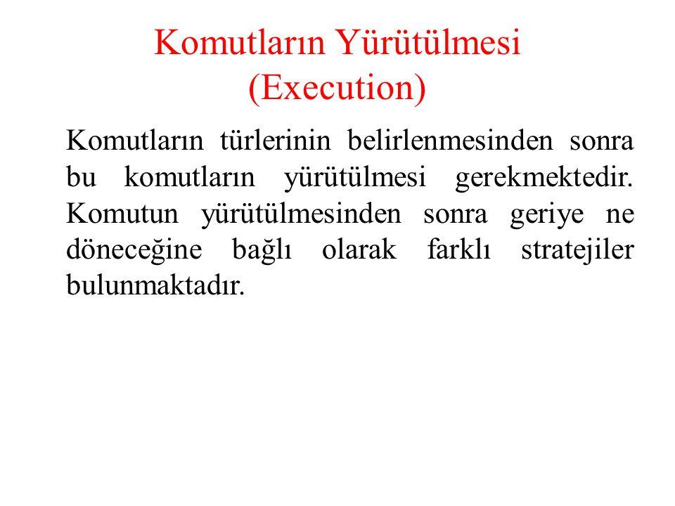 Komutların Yürütülmesi (Execution) Komutların türlerinin belirlenmesinden sonra bu komutların yürütülmesi gerekmektedir. Komutun yürütülmesinden sonra