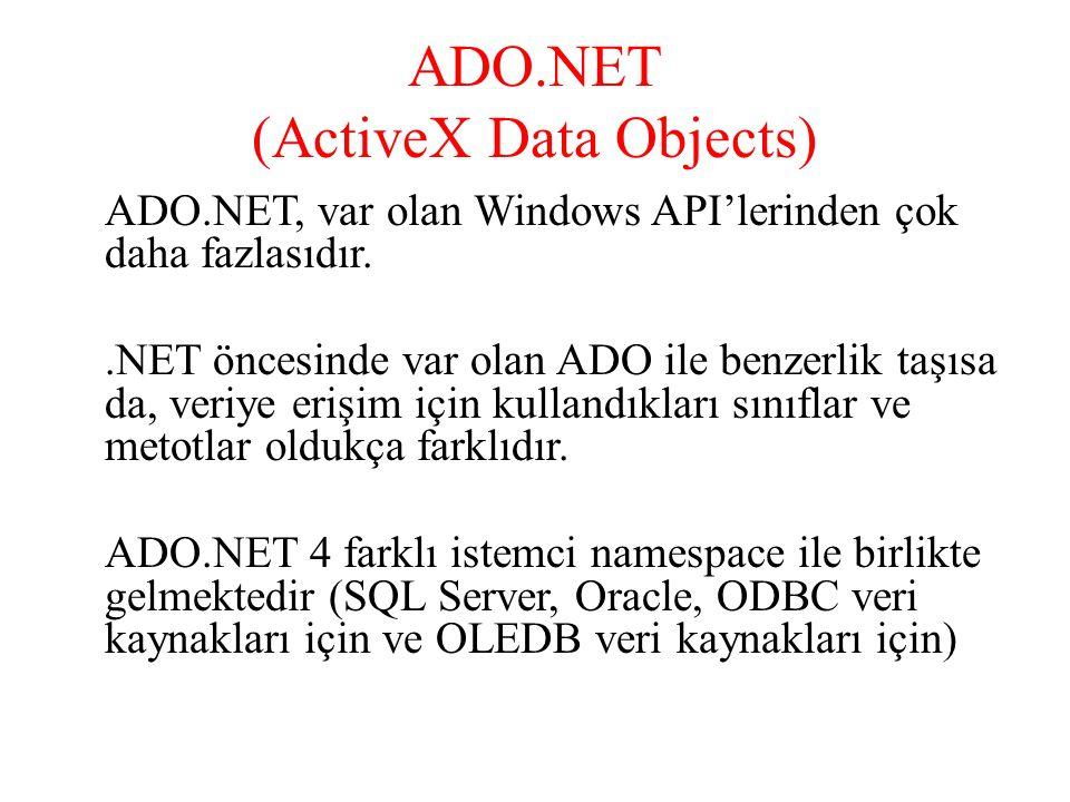 ADO.NET (ActiveX Data Objects) ADO.NET, var olan Windows API'lerinden çok daha fazlasıdır..NET öncesinde var olan ADO ile benzerlik taşısa da, veriye
