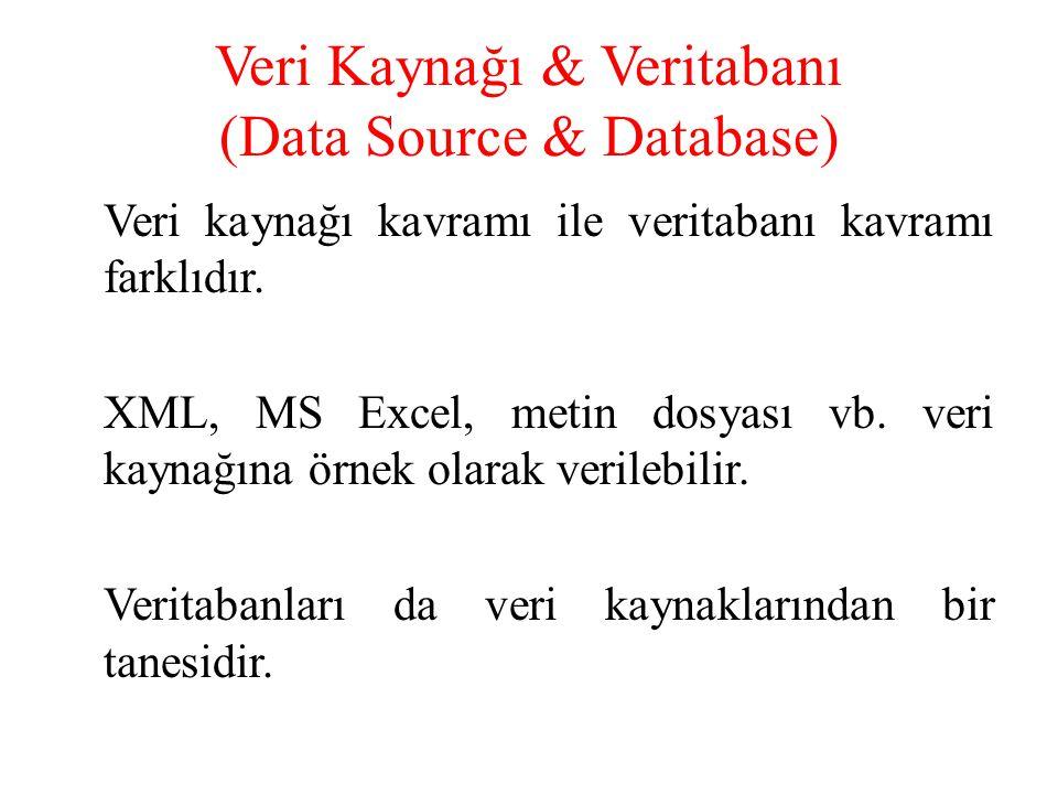 Veri Kaynağı & Veritabanı (Data Source & Database) Veri kaynağı kavramı ile veritabanı kavramı farklıdır. XML, MS Excel, metin dosyası vb. veri kaynağ