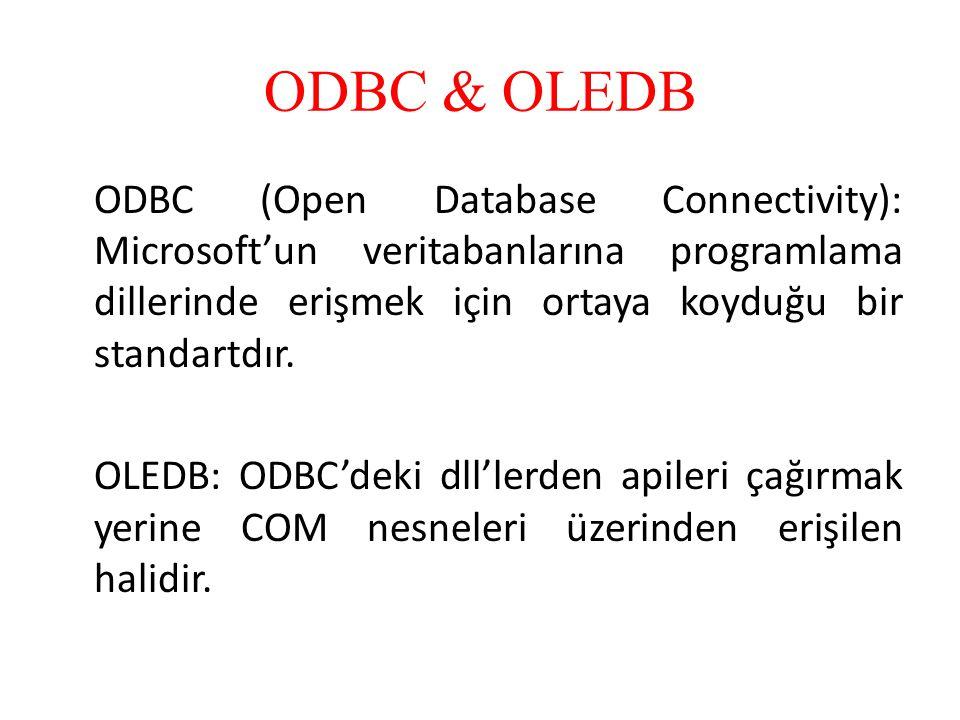 ODBC (Open Database Connectivity): Microsoft'un veritabanlarına programlama dillerinde erişmek için ortaya koyduğu bir standartdır. OLEDB: ODBC'deki d
