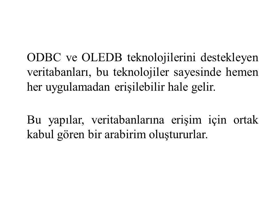 ODBC ve OLEDB teknolojilerini destekleyen veritabanları, bu teknolojiler sayesinde hemen her uygulamadan erişilebilir hale gelir. Bu yapılar, veritaba