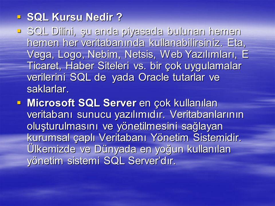  SQL Kursu Nedir .