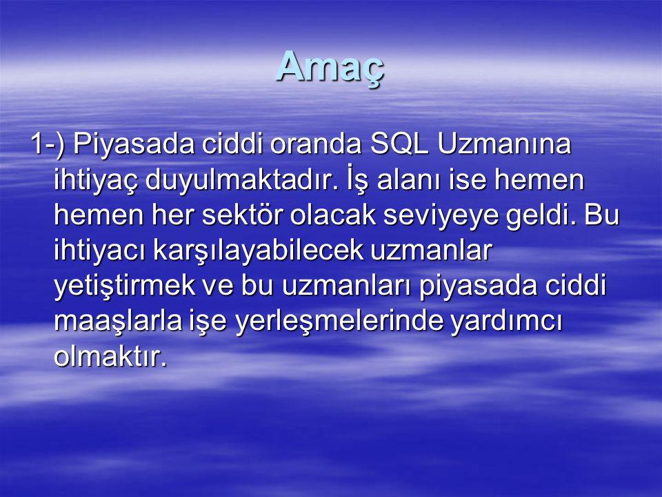 Amaç 1-) Piyasada ciddi oranda SQL Uzmanına ihtiyaç duyulmaktadır.