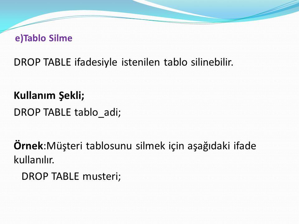 e)Tablo Silme DROP TABLE ifadesiyle istenilen tablo silinebilir. Kullanım Şekli; DROP TABLE tablo_adi; Örnek:Müşteri tablosunu silmek için aşağıdaki i