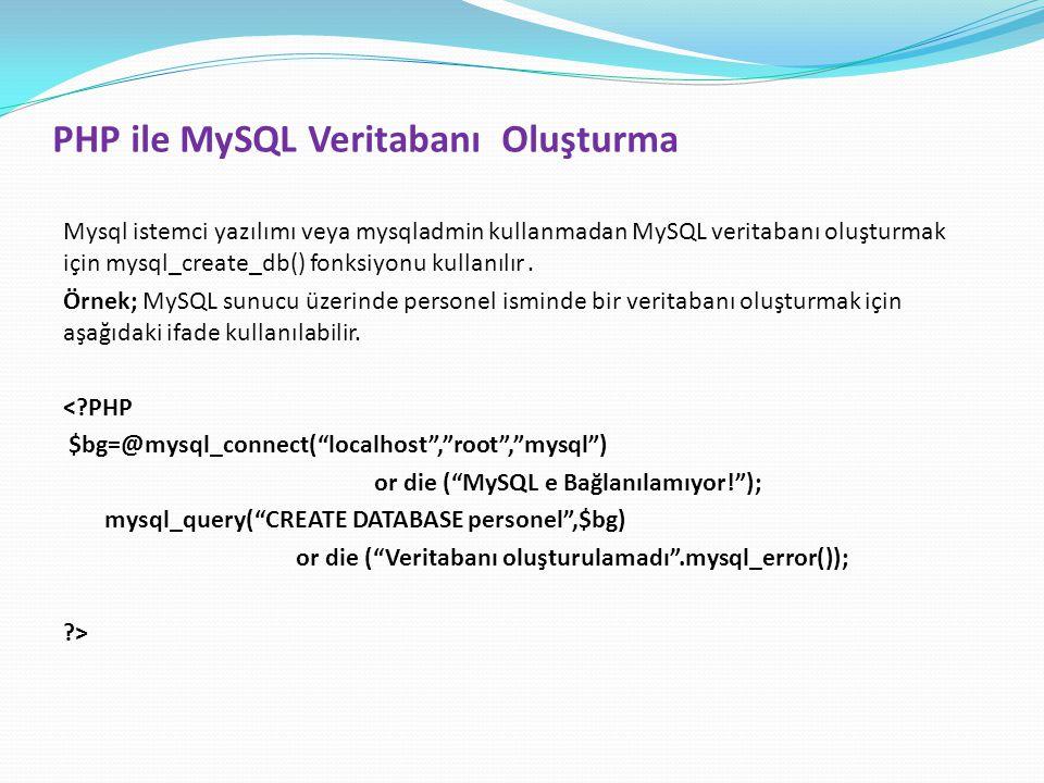PHP ile MySQL Veritabanı Oluşturma Mysql istemci yazılımı veya mysqladmin kullanmadan MySQL veritabanı oluşturmak için mysql_create_db() fonksiyonu ku