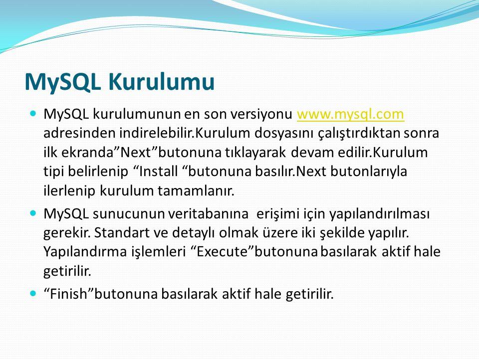 """MySQL Kurulumu MySQL kurulumunun en son versiyonu www.mysql.com adresinden indirelebilir.Kurulum dosyasını çalıştırdıktan sonra ilk ekranda""""Next""""buton"""