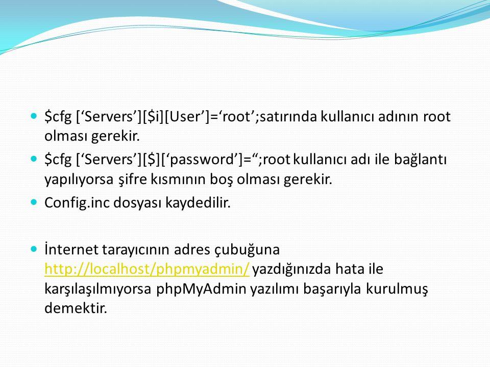 """$cfg ['Servers'][$i][User']='root';satırında kullanıcı adının root olması gerekir. $cfg ['Servers'][$]['password']="""";root kullanıcı adı ile bağlantı y"""