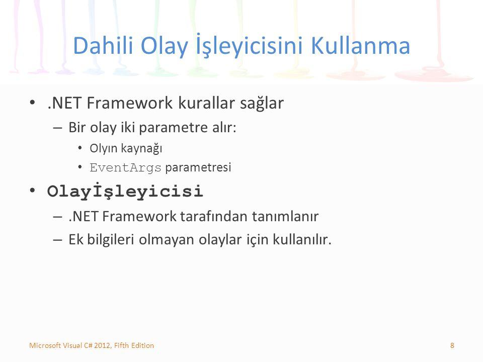 8Microsoft Visual C# 2012, Fifth Edition Dahili Olay İşleyicisini Kullanma.NET Framework kurallar sağlar – Bir olay iki parametre alır: Olyın kaynağı EventArgs parametresi Olayİşleyicisi –.NET Framework tarafından tanımlanır – Ek bilgileri olmayan olaylar için kullanılır.