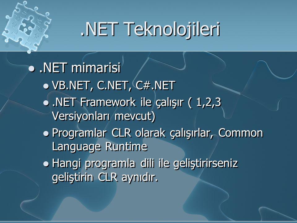 .NET Teknolojileri.NET mimarisi VB.NET, C.NET, C#.NET.NET Framework ile çalışır ( 1,2,3 Versiyonları mevcut) Programlar CLR olarak çalışırlar, Common Language Runtime Hangi programla dili ile geliştirirseniz geliştirin CLR aynıdır..NET mimarisi VB.NET, C.NET, C#.NET.NET Framework ile çalışır ( 1,2,3 Versiyonları mevcut) Programlar CLR olarak çalışırlar, Common Language Runtime Hangi programla dili ile geliştirirseniz geliştirin CLR aynıdır.