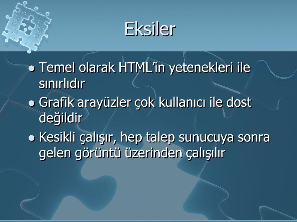 Eksiler Temel olarak HTML'in yetenekleri ile sınırlıdır Grafik arayüzler çok kullanıcı ile dost değildir Kesikli çalışır, hep talep sunucuya sonra gelen görüntü üzerinden çalışılır Temel olarak HTML'in yetenekleri ile sınırlıdır Grafik arayüzler çok kullanıcı ile dost değildir Kesikli çalışır, hep talep sunucuya sonra gelen görüntü üzerinden çalışılır