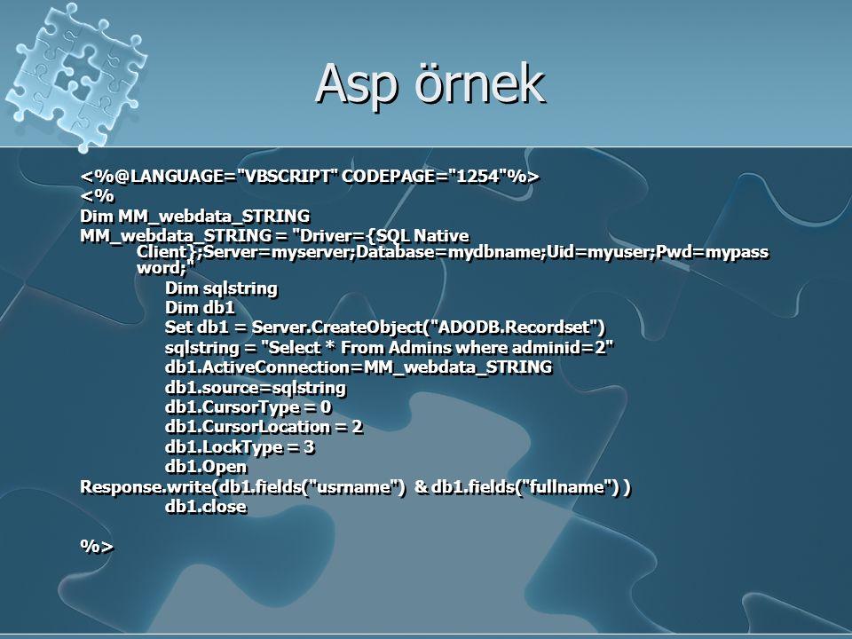 Asp örnek <% Dim MM_webdata_STRING MM_webdata_STRING = Driver={SQL Native Client};Server=myserver;Database=mydbname;Uid=myuser;Pwd=mypass word; Dim sqlstring Dim db1 Set db1 = Server.CreateObject( ADODB.Recordset ) sqlstring = Select * From Admins where adminid=2 db1.ActiveConnection=MM_webdata_STRING db1.source=sqlstring db1.CursorType = 0 db1.CursorLocation = 2 db1.LockType = 3 db1.Open Response.write(db1.fields( usrname ) & db1.fields( fullname ) ) db1.close %> <% Dim MM_webdata_STRING MM_webdata_STRING = Driver={SQL Native Client};Server=myserver;Database=mydbname;Uid=myuser;Pwd=mypass word; Dim sqlstring Dim db1 Set db1 = Server.CreateObject( ADODB.Recordset ) sqlstring = Select * From Admins where adminid=2 db1.ActiveConnection=MM_webdata_STRING db1.source=sqlstring db1.CursorType = 0 db1.CursorLocation = 2 db1.LockType = 3 db1.Open Response.write(db1.fields( usrname ) & db1.fields( fullname ) ) db1.close %>