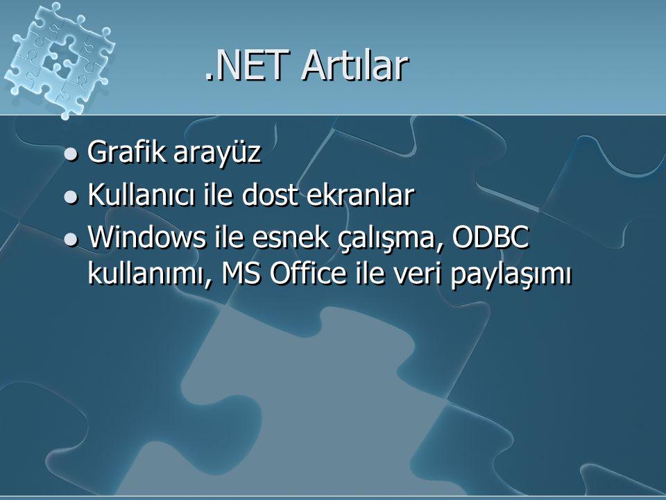 .NET Artılar Grafik arayüz Kullanıcı ile dost ekranlar Windows ile esnek çalışma, ODBC kullanımı, MS Office ile veri paylaşımı Grafik arayüz Kullanıcı ile dost ekranlar Windows ile esnek çalışma, ODBC kullanımı, MS Office ile veri paylaşımı