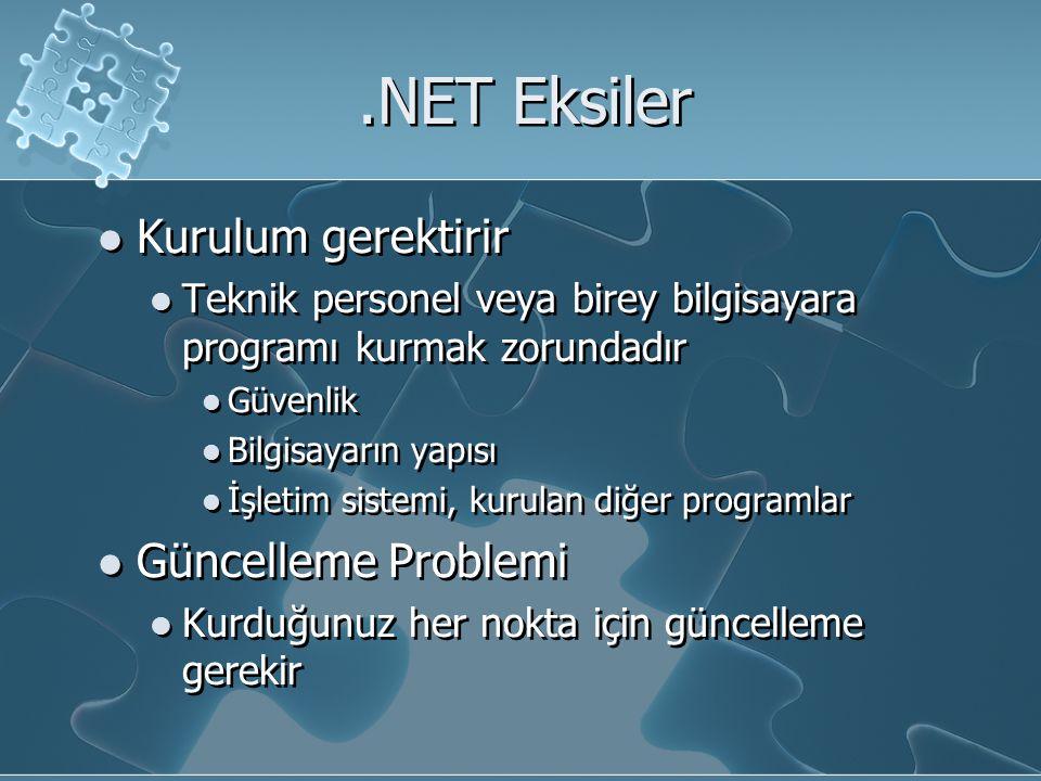 .NET Eksiler Kurulum gerektirir Teknik personel veya birey bilgisayara programı kurmak zorundadır Güvenlik Bilgisayarın yapısı İşletim sistemi, kurulan diğer programlar Güncelleme Problemi Kurduğunuz her nokta için güncelleme gerekir Kurulum gerektirir Teknik personel veya birey bilgisayara programı kurmak zorundadır Güvenlik Bilgisayarın yapısı İşletim sistemi, kurulan diğer programlar Güncelleme Problemi Kurduğunuz her nokta için güncelleme gerekir