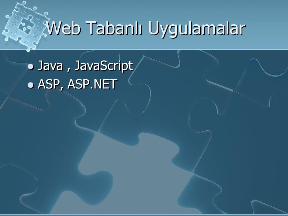 Web Tabanlı Uygulamalar Java, JavaScript ASP, ASP.NET Java, JavaScript ASP, ASP.NET