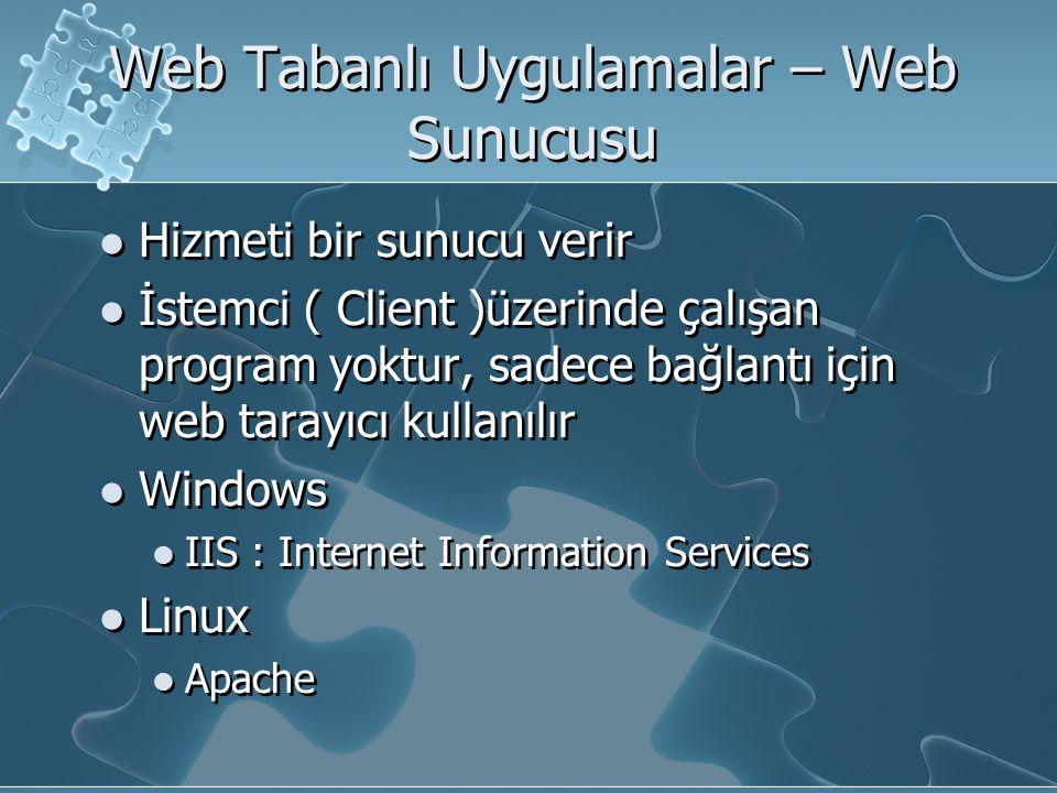 Web Tabanlı Uygulamalar – Web Sunucusu Hizmeti bir sunucu verir İstemci ( Client )üzerinde çalışan program yoktur, sadece bağlantı için web tarayıcı kullanılır Windows IIS : Internet Information Services Linux Apache Hizmeti bir sunucu verir İstemci ( Client )üzerinde çalışan program yoktur, sadece bağlantı için web tarayıcı kullanılır Windows IIS : Internet Information Services Linux Apache