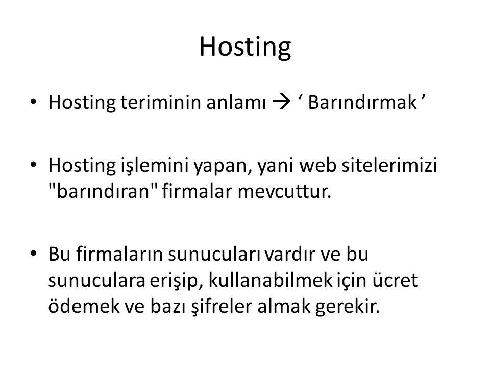 Hosting Hosting teriminin anlamı  ' Barındırmak ' Hosting işlemini yapan, yani web sitelerimizi