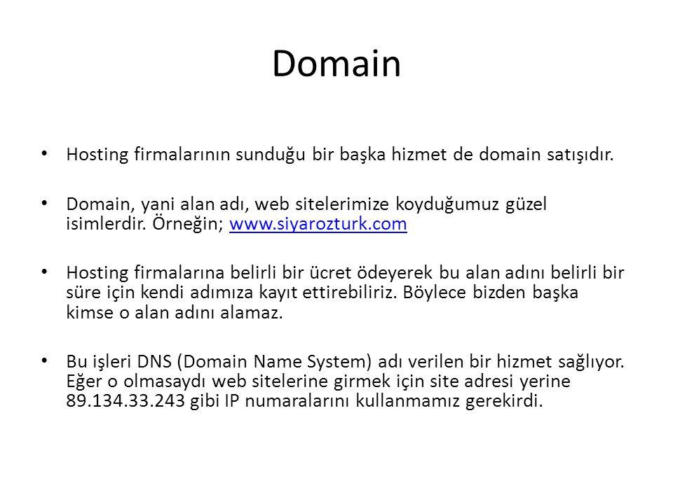 Domain Hosting firmalarının sunduğu bir başka hizmet de domain satışıdır. Domain, yani alan adı, web sitelerimize koyduğumuz güzel isimlerdir. Örneğin
