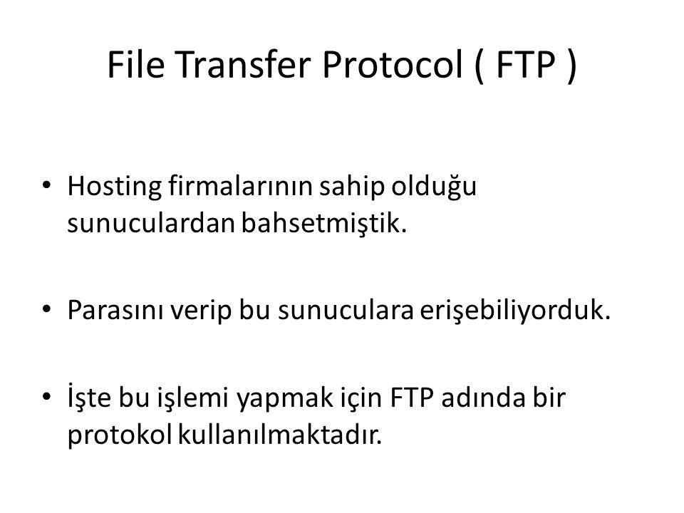 File Transfer Protocol ( FTP ) Hosting firmalarının sahip olduğu sunuculardan bahsetmiştik. Parasını verip bu sunuculara erişebiliyorduk. İşte bu işle
