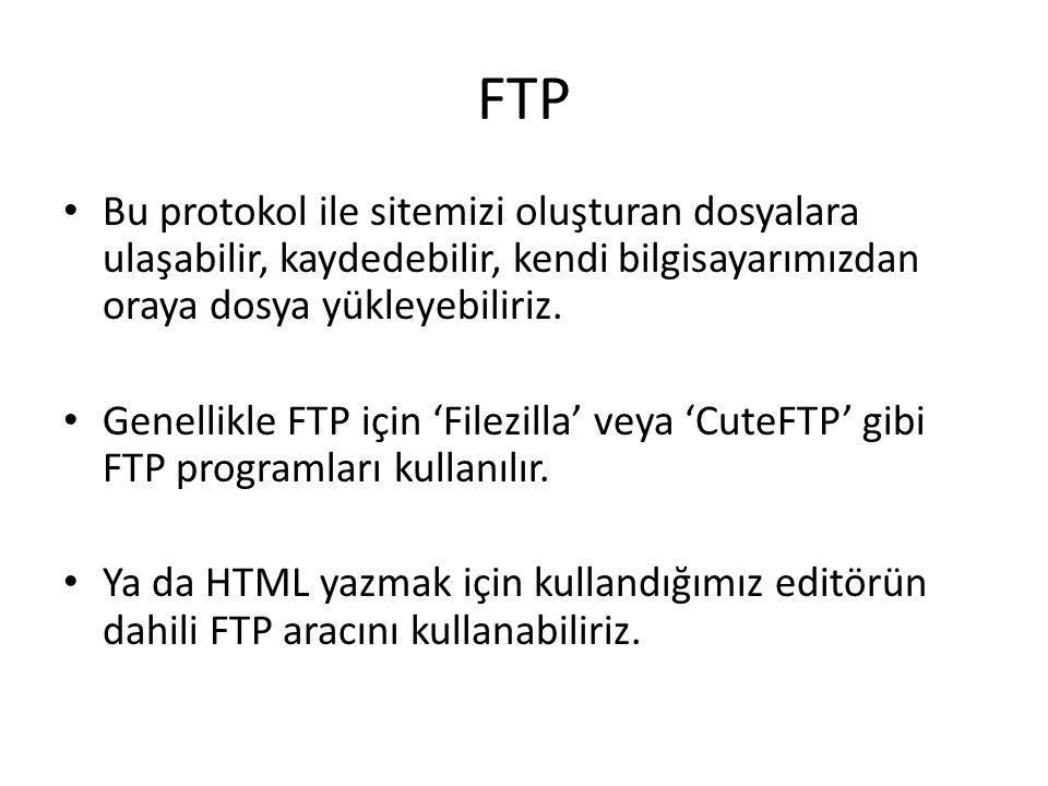 FTP Bu protokol ile sitemizi oluşturan dosyalara ulaşabilir, kaydedebilir, kendi bilgisayarımızdan oraya dosya yükleyebiliriz. Genellikle FTP için 'Fi