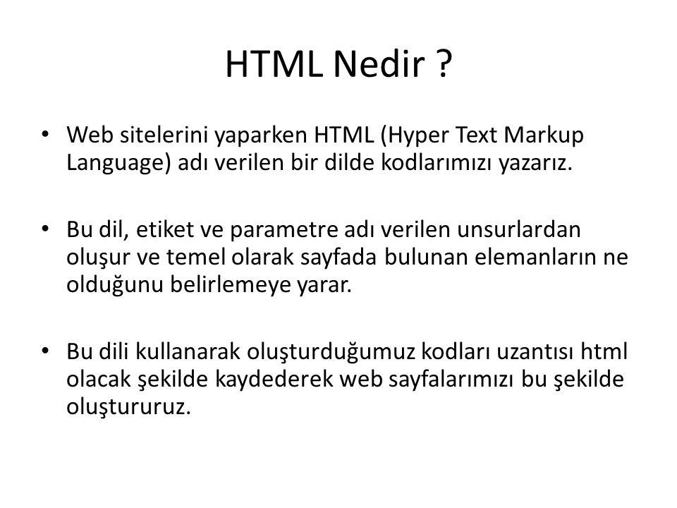HTML Nedir ? Web sitelerini yaparken HTML (Hyper Text Markup Language) adı verilen bir dilde kodlarımızı yazarız. Bu dil, etiket ve parametre adı veri