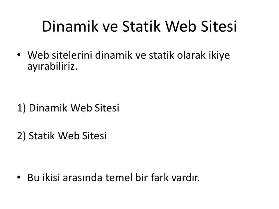 Dinamik ve Statik Web Sitesi Web sitelerini dinamik ve statik olarak ikiye ayırabiliriz. 1) Dinamik Web Sitesi 2) Statik Web Sitesi Bu ikisi arasında