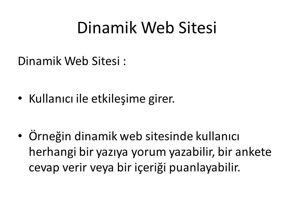 Dinamik Web Sitesi Dinamik Web Sitesi : Kullanıcı ile etkileşime girer. Örneğin dinamik web sitesinde kullanıcı herhangi bir yazıya yorum yazabilir, b