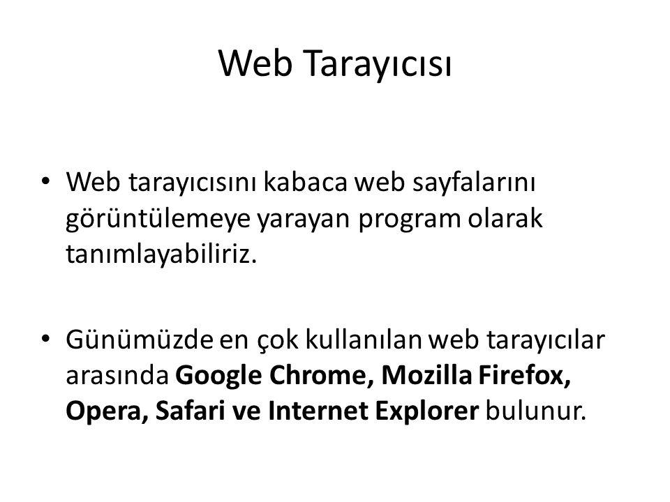 Web Tarayıcısı Web tarayıcısını kabaca web sayfalarını görüntülemeye yarayan program olarak tanımlayabiliriz. Günümüzde en çok kullanılan web tarayıcı