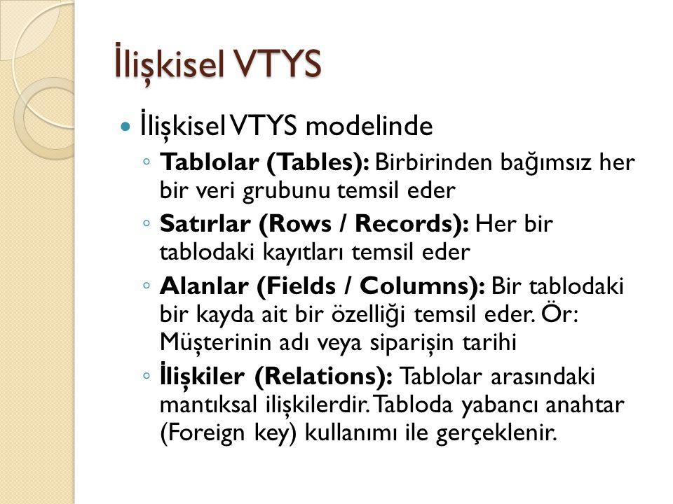 İ lişkisel VTYS İ lişkisel VTYS modelinde ◦ Tablolar (Tables): Birbirinden ba ğ ımsız her bir veri grubunu temsil eder ◦ Satırlar (Rows / Records): He