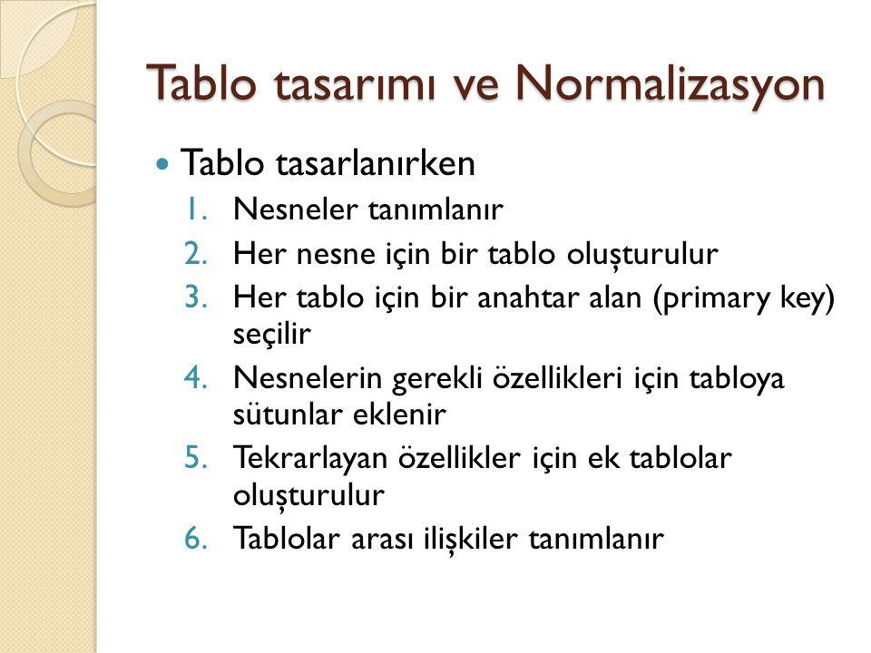 Tablo tasarımı ve Normalizasyon Tablo tasarlanırken 1.Nesneler tanımlanır 2.Her nesne için bir tablo oluşturulur 3.Her tablo için bir anahtar alan (pr