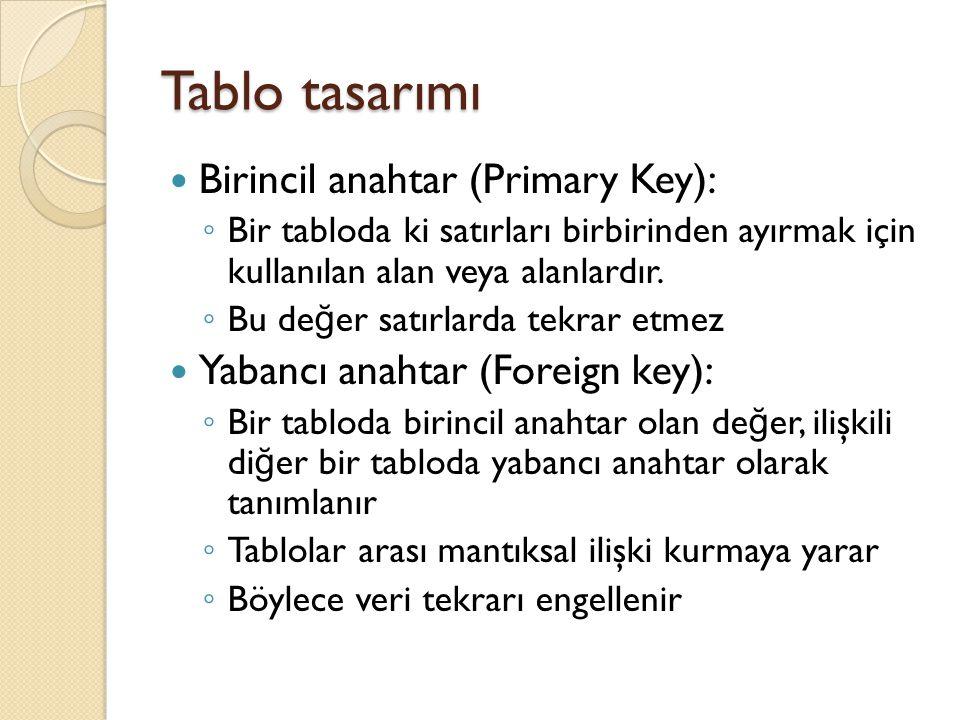 Tablo tasarımı Birincil anahtar (Primary Key): ◦ Bir tabloda ki satırları birbirinden ayırmak için kullanılan alan veya alanlardır. ◦ Bu de ğ er satır