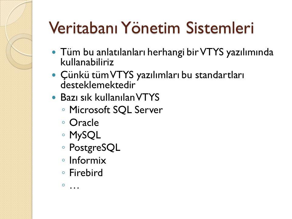 Veritabanı Yönetim Sistemleri Tüm bu anlatılanları herhangi bir VTYS yazılımında kullanabiliriz Çünkü tüm VTYS yazılımları bu standartları desteklemek