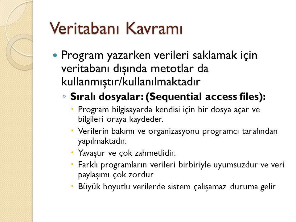 Veritabanı Kavramı Program yazarken verileri saklamak için veritabanı dışında metotlar da kullanmıştır/kullanılmaktadır ◦ Sıralı dosyalar: (Sequential