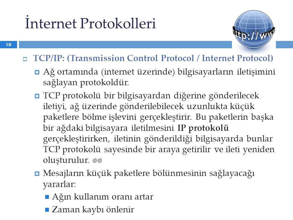 İnternet Protokolleri  TCP/IP: (Transmission Control Protocol / Internet Protocol)  Ağ ortamında (internet üzerinde) bilgisayarların iletişimini sağ