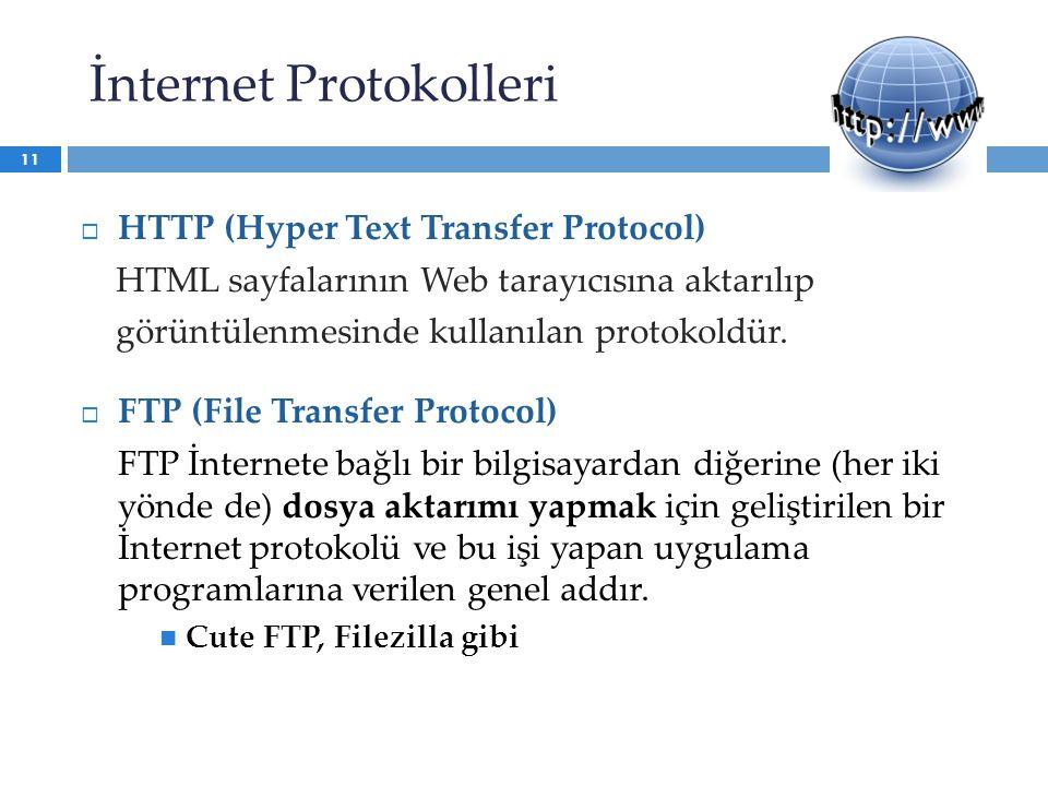  HTTP (Hyper Text Transfer Protocol) HTML sayfalarının Web tarayıcısına aktarılıp görüntülenmesinde kullanılan protokoldür.  FTP (File Transfer Prot