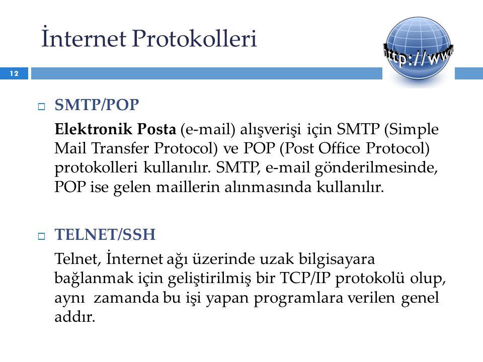  SMTP/POP Elektronik Posta (e-mail) alışverişi için SMTP (Simple Mail Transfer Protocol) ve POP (Post Office Protocol) protokolleri kullanılır. SMTP,