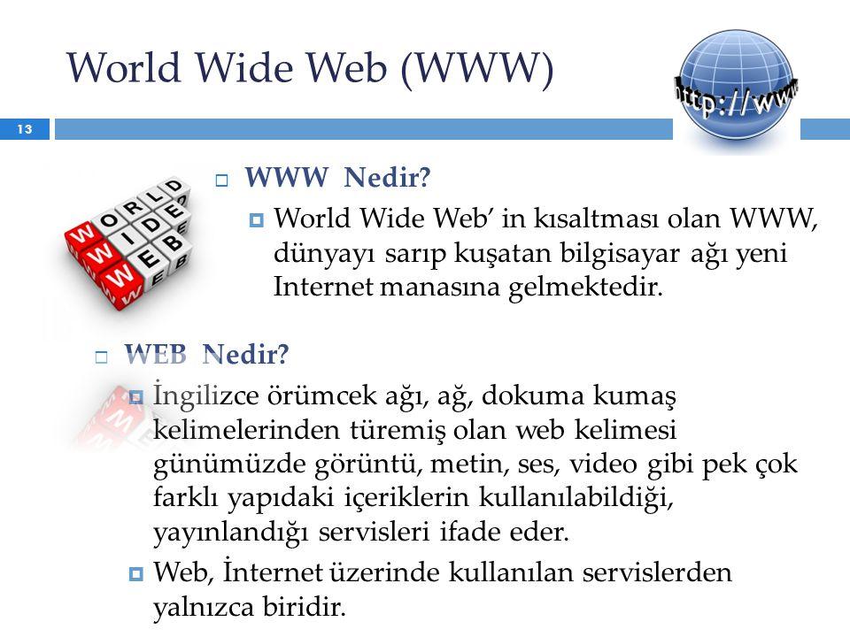 World Wide Web (WWW)  WEB Nedir?  İngilizce örümcek ağı, ağ, dokuma kumaş kelimelerinden türemiş olan web kelimesi günümüzde görüntü, metin, ses, vi