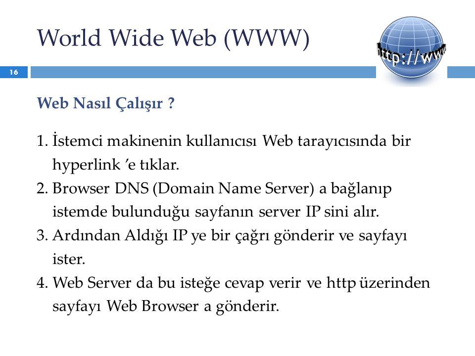 World Wide Web (WWW) Web Nasıl Çalışır ? 1. İstemci makinenin kullanıcısı Web tarayıcısında bir hyperlink 'e tıklar. 2. Browser DNS (Domain Name Serve