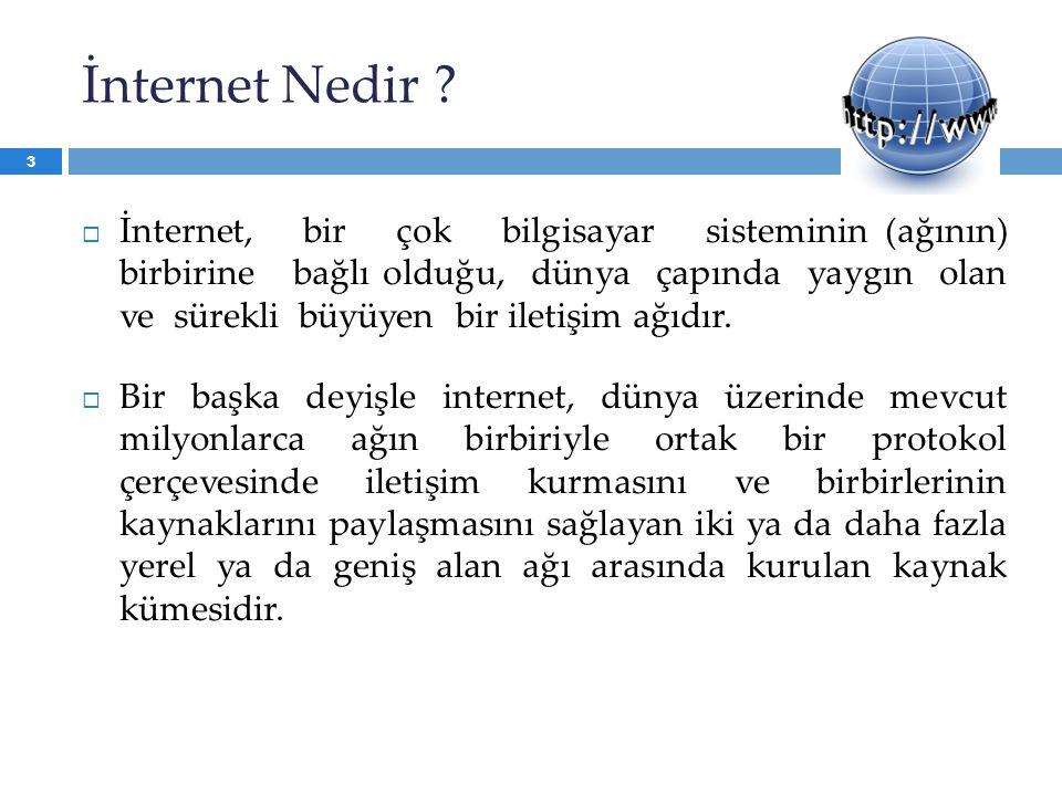 İnternet Nedir ?  İnternet, bir çok bilgisayar sisteminin (ağının) birbirine bağlı olduğu, dünya çapında yaygın olan ve sürekli büyüyen bir iletişim