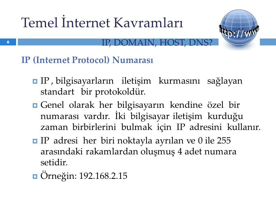 IP (Internet Protocol) Numarası  IP, bilgisayarların iletişim kurmasını sağlayan standart bir protokoldür.  Genel olarak her bilgisayarın kendine öz