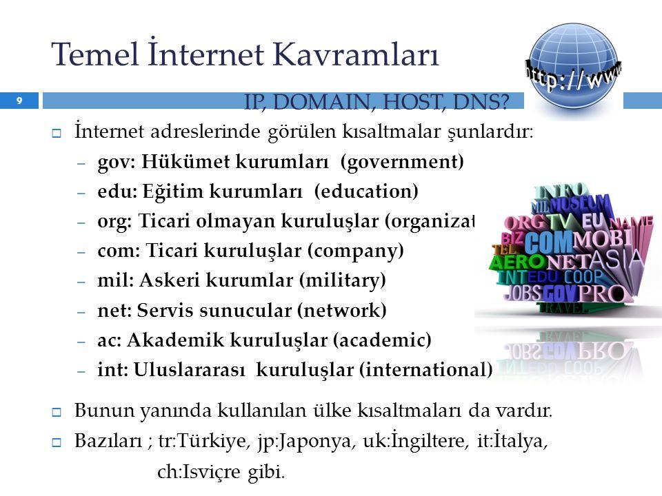  İnternet adreslerinde görülen kısaltmalar şunlardır: – gov: Hükümet kurumları (government) – edu: Eğitim kurumları (education) – org: Ticari olmayan