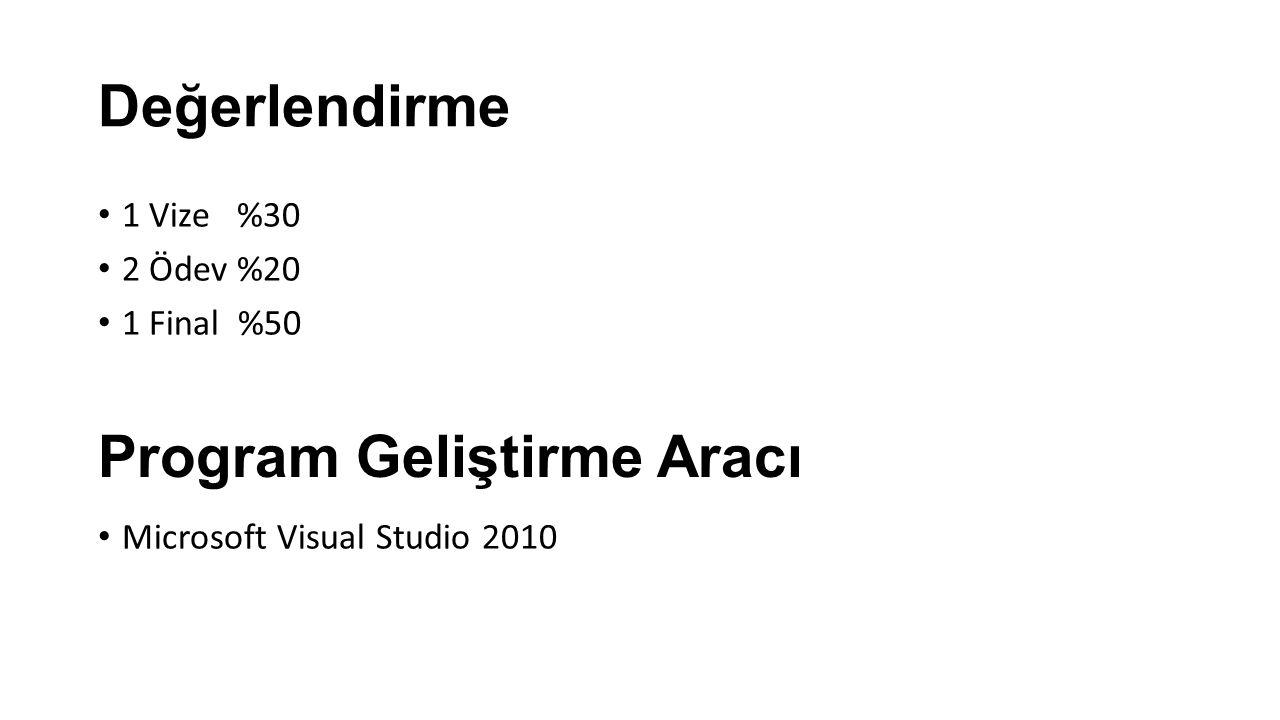 Değerlendirme 1 Vize %30 2 Ödev %20 1 Final %50 Microsoft Visual Studio 2010 Program Geliştirme Aracı