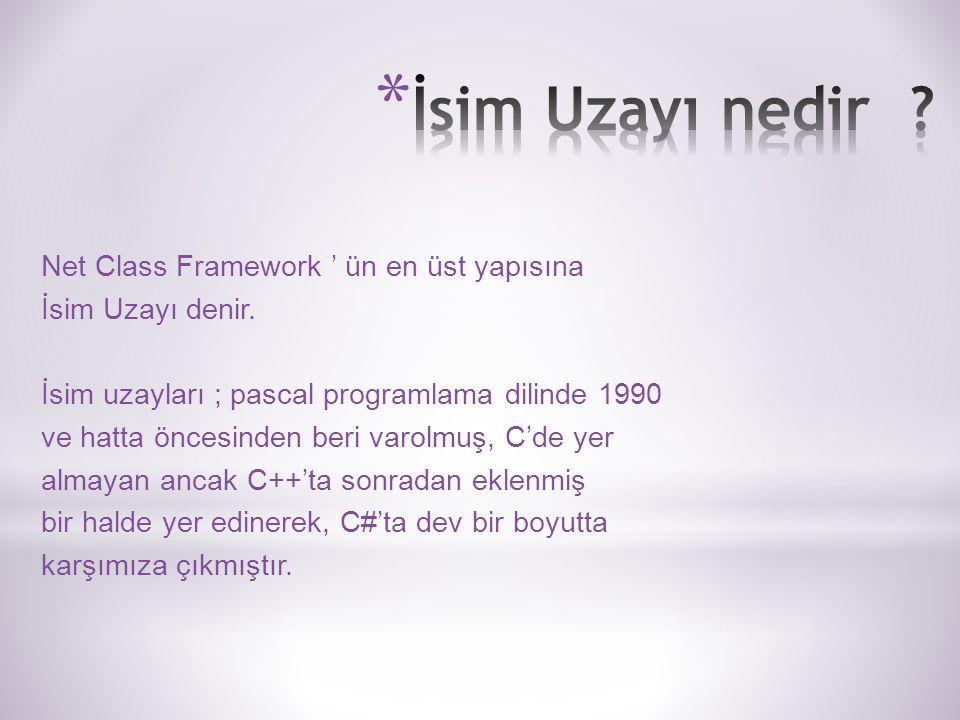 Net Class Framework ' ün en üst yapısına İsim Uzayı denir.